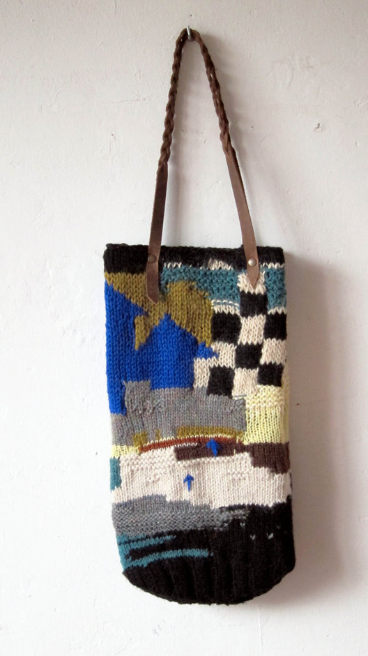 handmade knitted bag with leather handles by chrisvanveghel