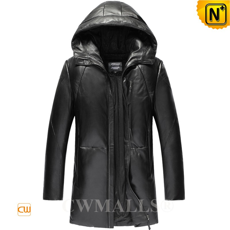 Mens Leather Down Coat with Hood CW806103