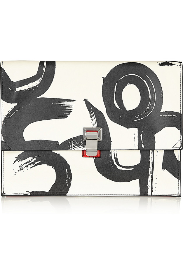 Proenza Schouler The Lunch Bag large printed leather clutch NET-A-PORTER.COM