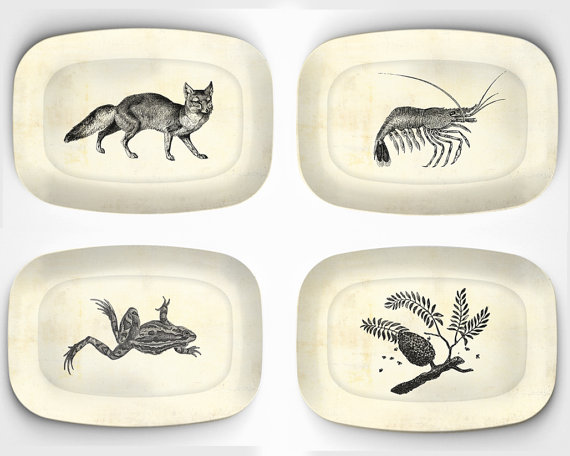 4 melamine platters with vintage artwork 10 x by TheMadPlatters