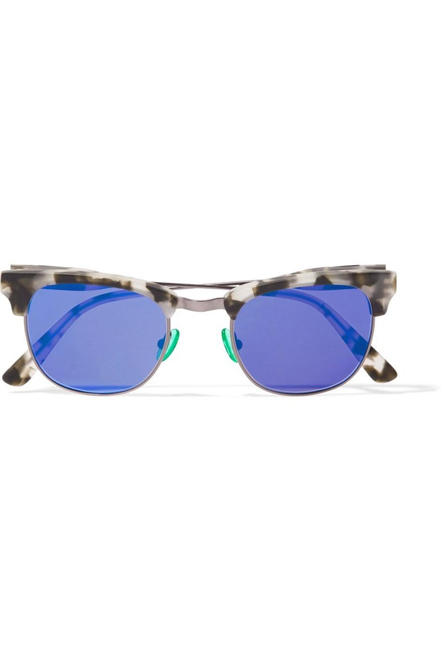 Westward Leaning | Vanguard 18 square-frame acetate and gunmetal-tone mirrored sunglasses | NET-A-PORTER.COM