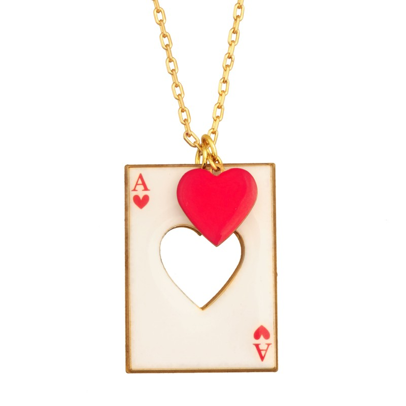 Red heart cut from his card necklace - Les Néréides - N2