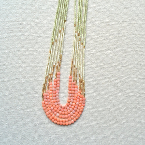 Enamoured Necklace Pink Coral with Pale Green by ISWASANDWILLBE
