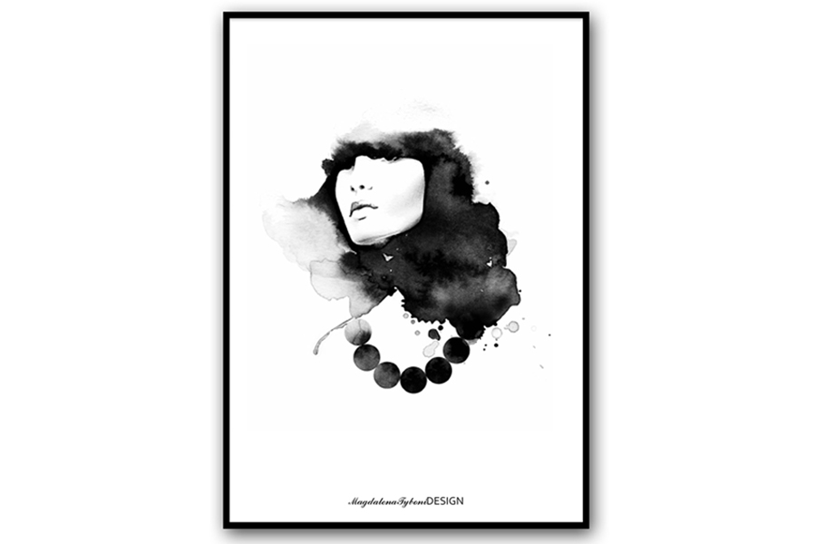 Magdalena Tyboni Design ポスター/アートプリント 50 x 70 cm Woman with Pearls