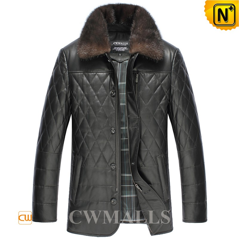 Mens Quilted Fur Leather Down Jackets CW846041