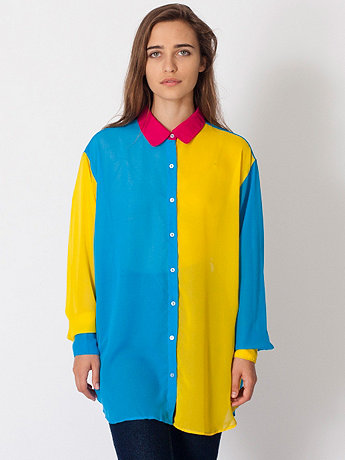 Color Block Oversized Button-Up | American Apparel