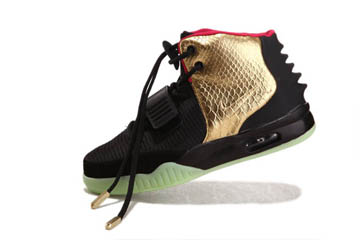 Men's Black/Gold/Red Air Yeezy 2 Glow In The Dark Nike Shoes