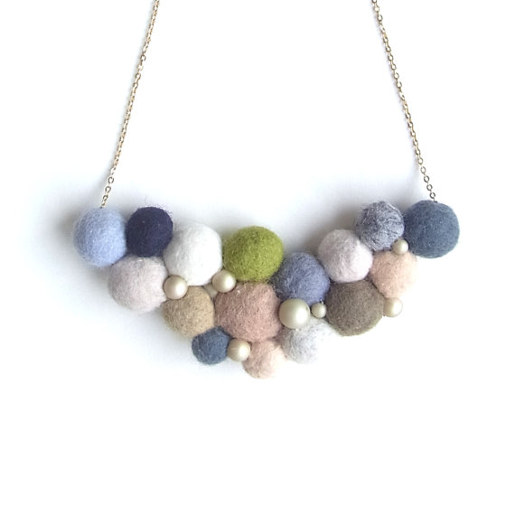 R's Felt Ball Necklace H by HOMAKO on Etsy