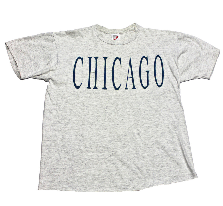 Vintage 90s Heather Gray Chicago Shirt Made in USA Mens Size Large | Vintage Mens Goods