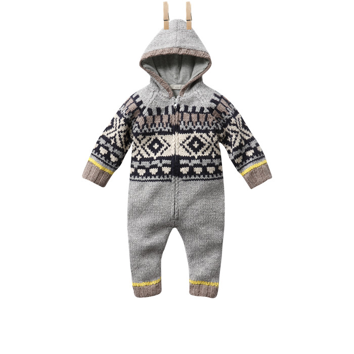 Beavis: baby hooded all in one, knitted fairisle, Baby