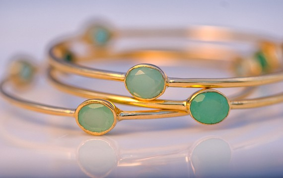 Three Faceted Chrysoprase and 18K Gold Plated by delezhen on Etsy