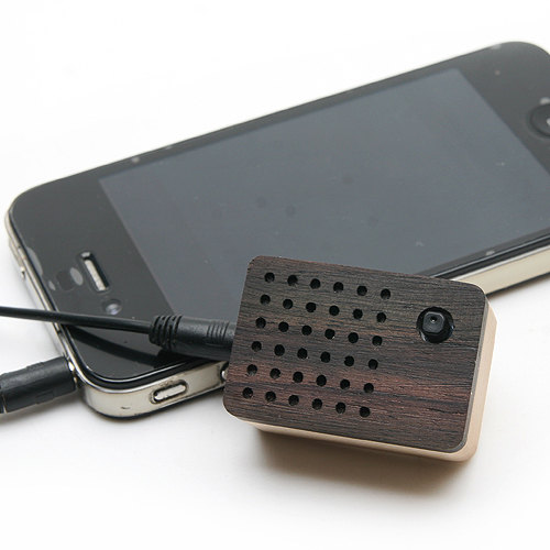 Tiny Wooden speaker Bulidin FM Radio for iPod and by somedayrain