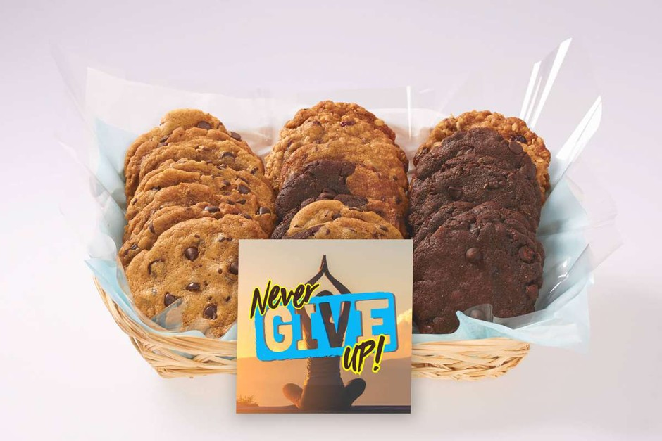 Never Give Up Gift Basket   iCare Cookie Gift Baskets   Better Cookies.ca Canada