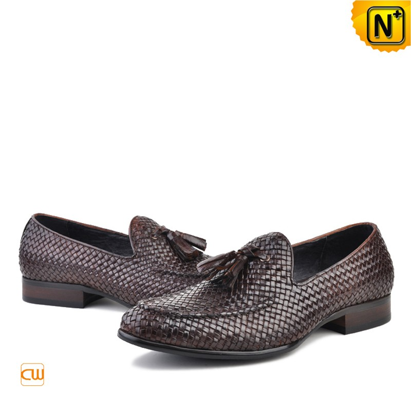 Mens Woven Leather Tassel Loafers CW750058
