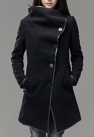 2013 New Women Black Wool Stylish Long Asymmetrical Overcoat from littledaisy on Storenvy