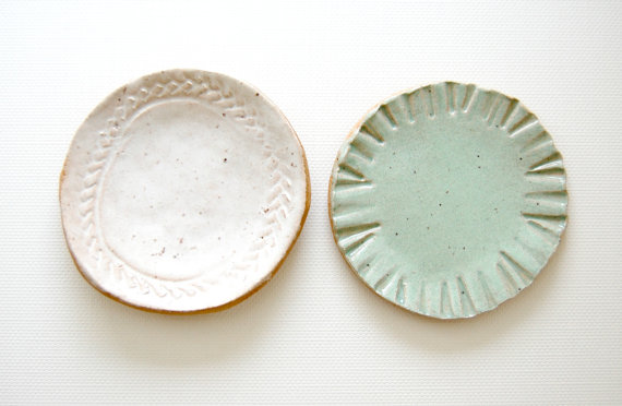 little bits Stoneware Mini Plates sea glass by alluvial on Etsy