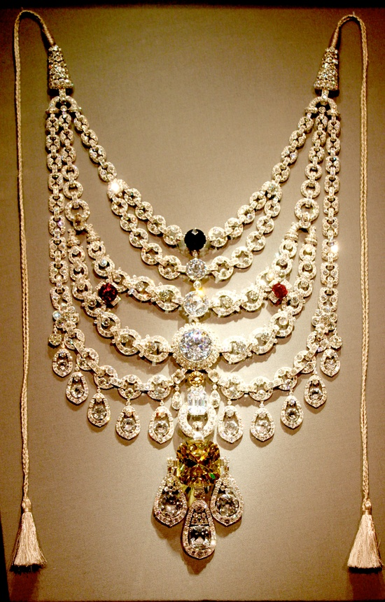 """treasure chest / The Patiala Necklace was a necklace created by the House of Cartier in 1928. It was made for and named after Bhupinder Singh of Patiala, the then ruling Maharaja of the state of Patiala. It contained 2,930 diamonds, including as its centerpiece, the world's seventh largest diamond, the 428 carat """"De Beers"""". The necklace disappeared around 1948. Part of it was recovered fifty years later with the De Beers diamond missing, along with many of the larger stones."""
