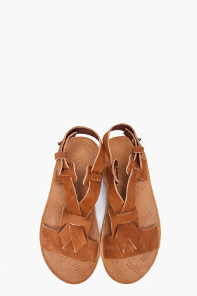 Maison Martin Margiela Tan Leather Sandals for women | SSENSE