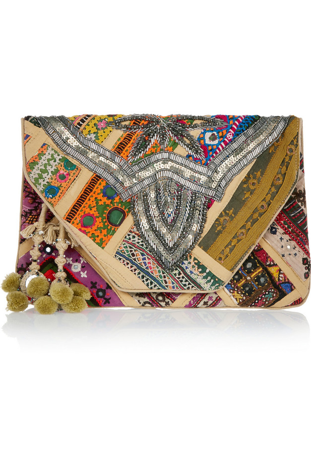 Antik Batik | Jango embroidered cotton clutch | NET-A-PORTER.COM