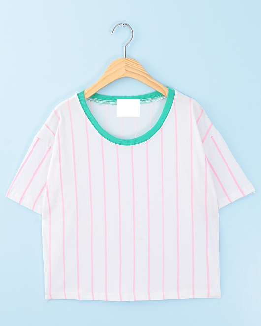 Fluorescent vertical stripe round neck white T-shirt from Sweetbox Store on Storenvy