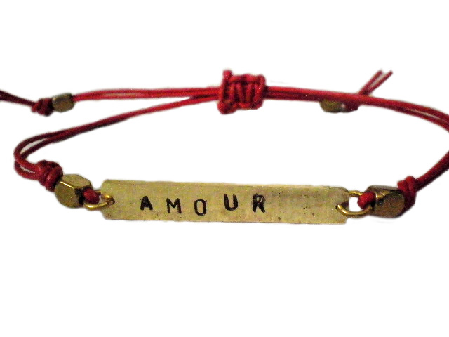 AMOUR Hand Stamped Brass And Leather Unisex Bracelet   Luulla