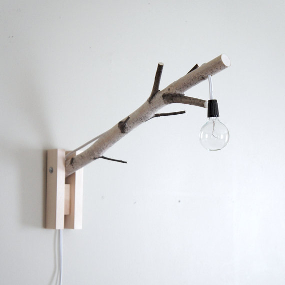 exposed bulb woodland wall/desk lamp natural by urbanplusforest