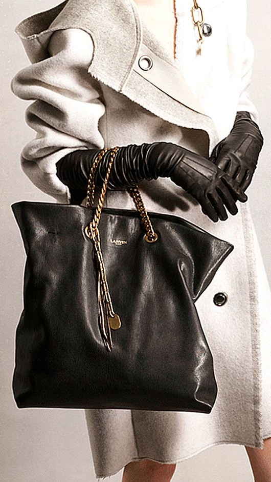 ⊱ Chic STYLE ⊰ / Lanvin Pre-Fall 2014 handbag and gloves http://www.vogue.com/fashion-week/