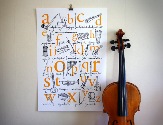 Alphabet Poster A to Z of Musical by runningsnailrainbow on Etsy