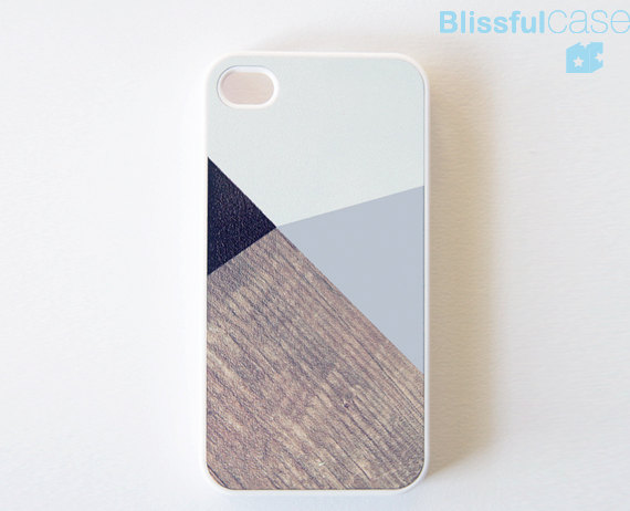 iphone 4 case grey color block with printed wood by BlissfulCASE
