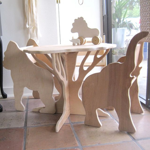 Table and Two Chairs The Child's Menagerie by palomasnest on Etsy