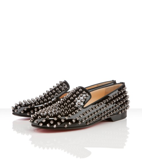 Christian Louboutin - Rolling spikes, patent, leather, black, loafers moccasins woman flat shoes