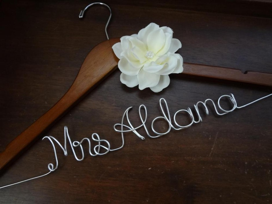 Personalized Wedding Dress Hanger With Ivory Fabric Flower on Luulla