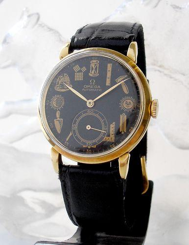 1947's OMEGA MASONIC AUTOMATIC FAMOUS Cal. 28.10RA 18K SOLID GOLD MEN'S WATCH | eBay tagged at Ebay