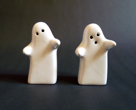 Spooky Ghost Ceramic Salt and Pepper Pots by FoxandThomas on Etsy