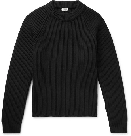SAINT LAURENT - Ribbed Wool and Cashmere-Blend Sweater