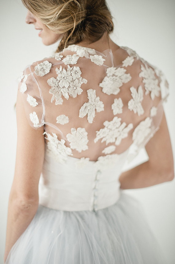 Jean Lace Bolero on tulle by chavianocouture on Etsy