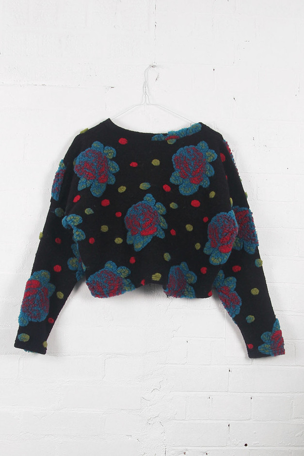 Limited Edition: Floral Crop Pom Pom Jumper - THE WHITEPEPPER