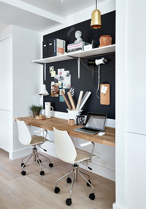 Gravity Interior   Built in workspace with black wall // full house...