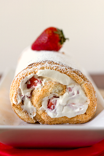 Strawberries and Cream Angel Food Cake Roll   Brown Eyed Baker
