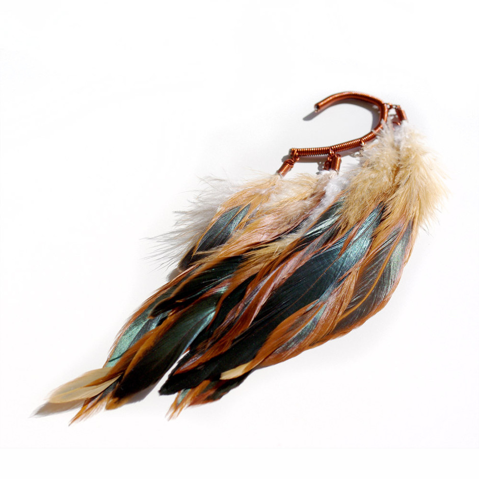 Anni Jürgenson — Ear cuff with burnt red rooster feathers