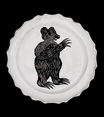 Astier de Villatte Bear Dinner Plate Sue Fisher King - Home Furnishings and Boutique Shop