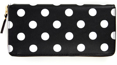 Comme des Garcons Polkadot Long Zip-Around Wallet - Black - Polyvore