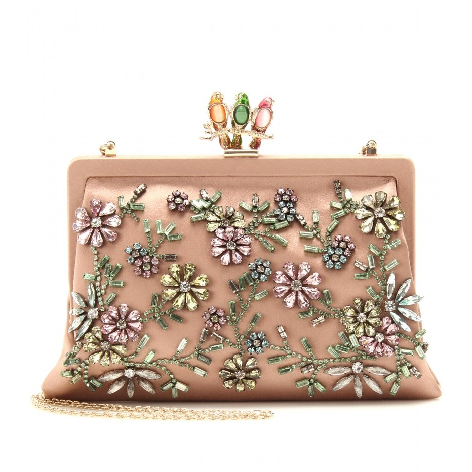 mytheresa.com - Valentino - GLAM FLOWER SATIN CLUTCH WITH EMBELLISHMENT - Luxury Fashion for Women / Designer clothing, shoes, bags