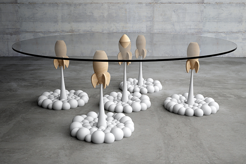 stelios mousarris' rocket coffee table blasts off on plumes of smoke