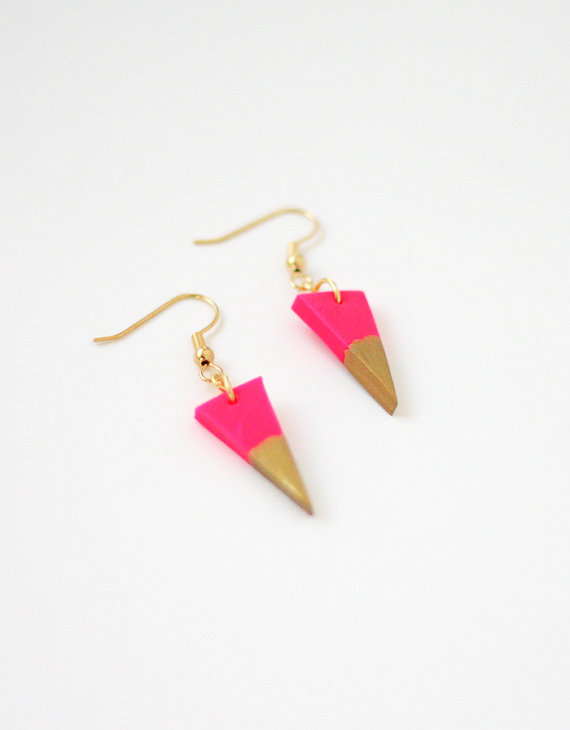 hot pink gold dipped triangle earrings by amerrymishap on Etsy