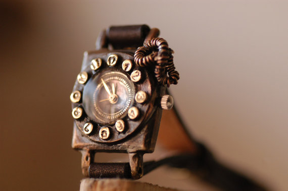 Vintage Watch. Handstitch. Leather Band ///////// by metaletlinnen