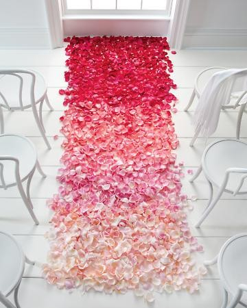 Weddings / Ombré petals up the aisle. Love!