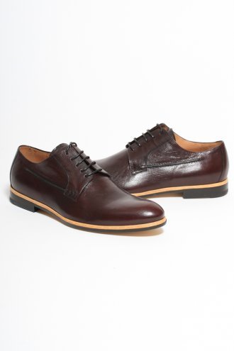 DRIES VAN NOTEN MS11/635 Contrast Trim Lace Up Shoe in Burgundy - FOOTWEAR from Autograph UK