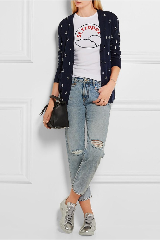 Equipment | Sullivan anchor-embroidered knitted cardigan  | NET-A-PORTER.COM