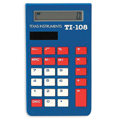 TI-108 Solar Calculator ~ Individual ~ Basic